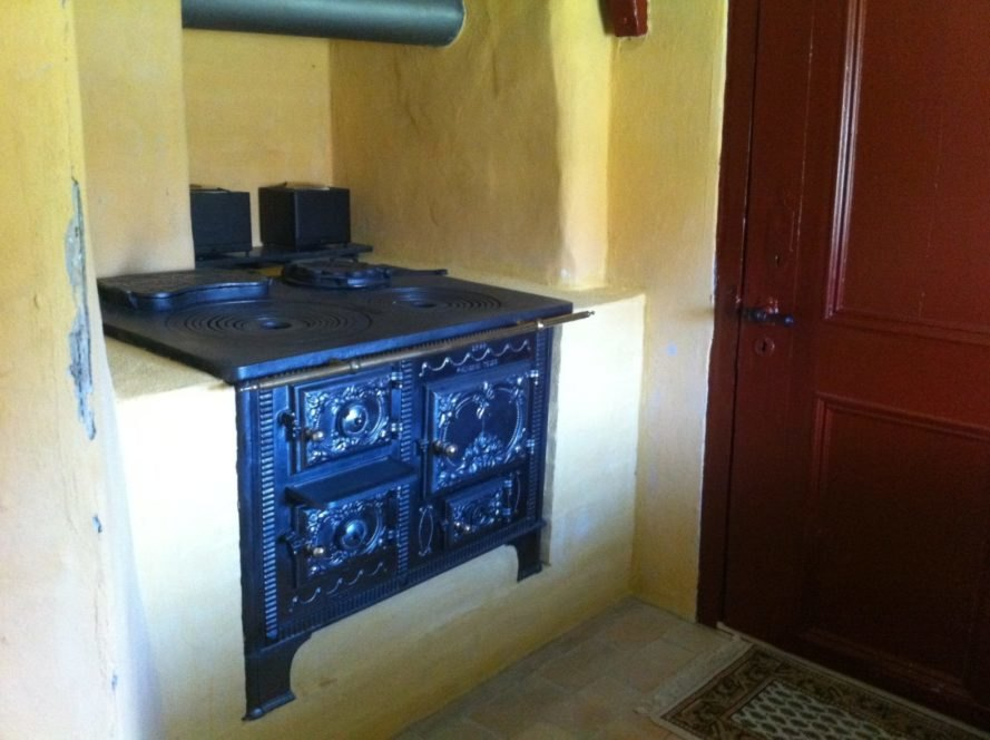 kitchen with iron stove