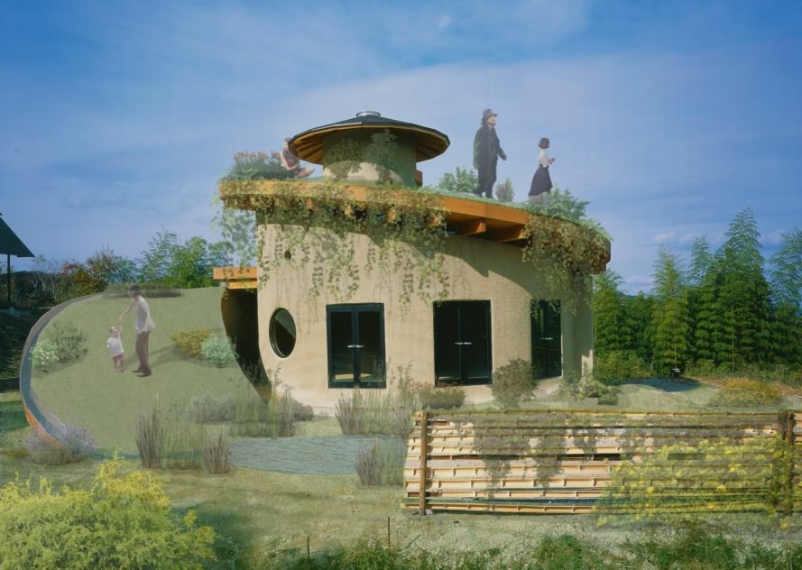 a rendering of a round home with flourishing garden