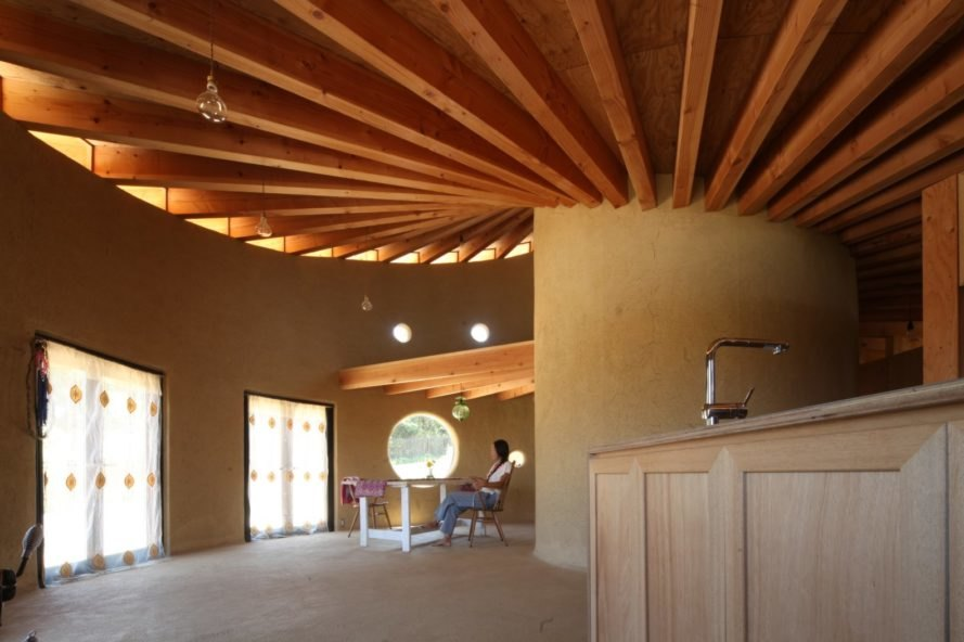 interior space with timber beams