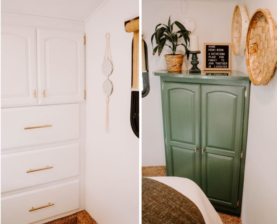 white closet and green cupboard