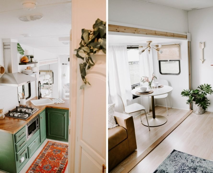 kitchen space with green cupboards and small dinette seat