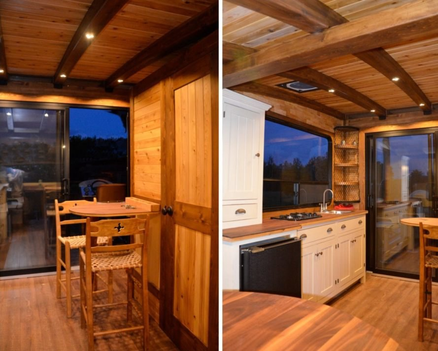 kitchen and dining space in boat