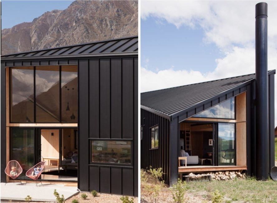black metal cabin with windows