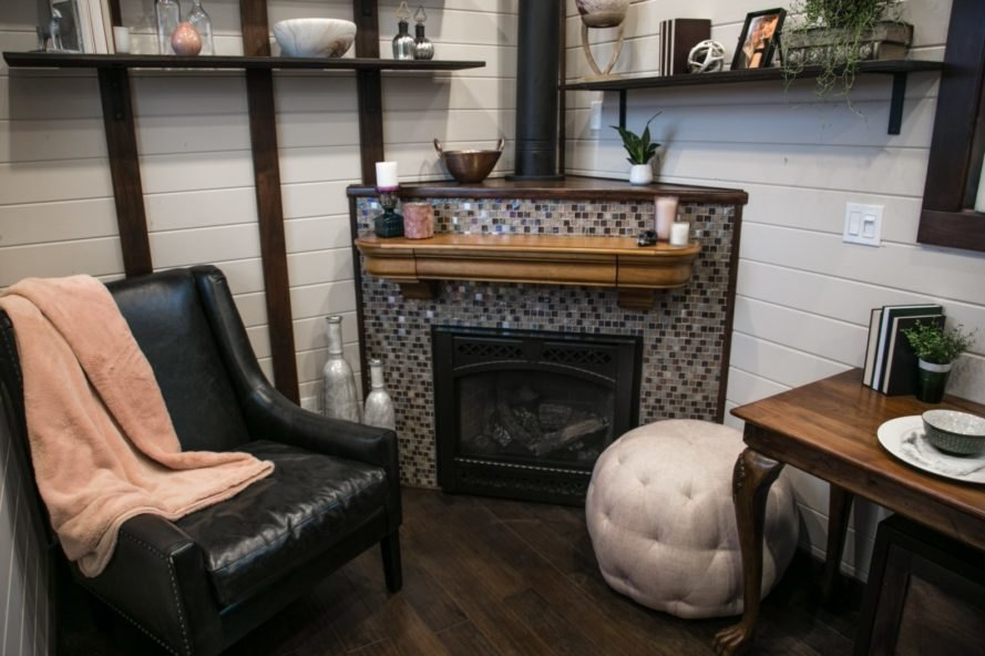 mosaic fireplace and sitting chair with bean bag