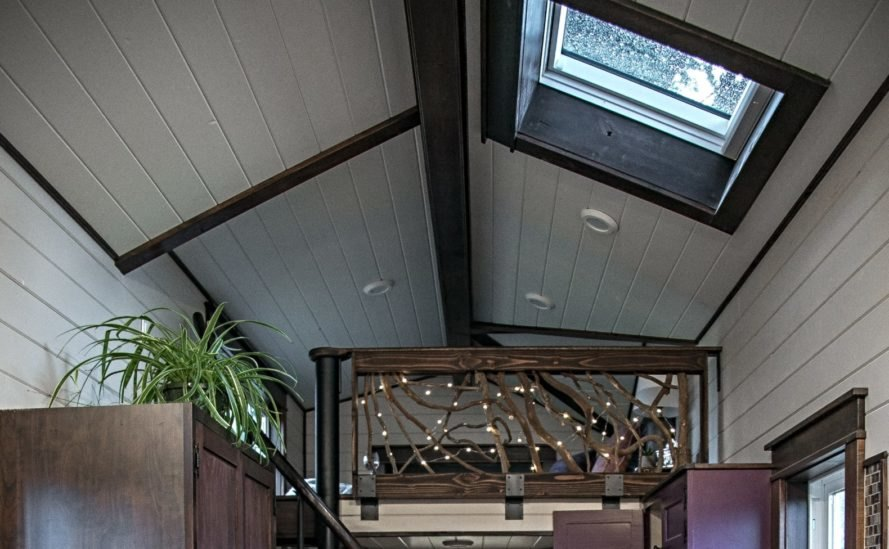 pitched ceiling and skylight