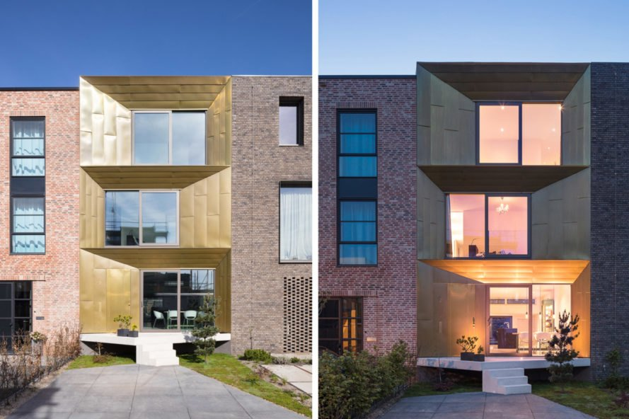 On the left, home with gold-tone exterior at daytime. On the right, home with brown exterior at night time.