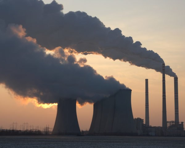 Coal plant at sunset