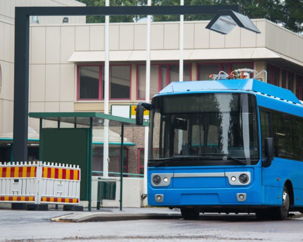 Blue electric bus charging