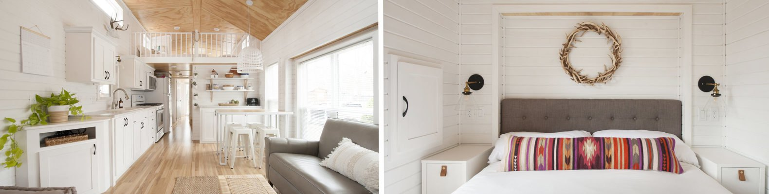 On the left, living room and kitchen with light wood floors, white walls and white cabinetry. On the right, master bedroom with light walls, white bedding and a brightly-colored, patterned throw pillow