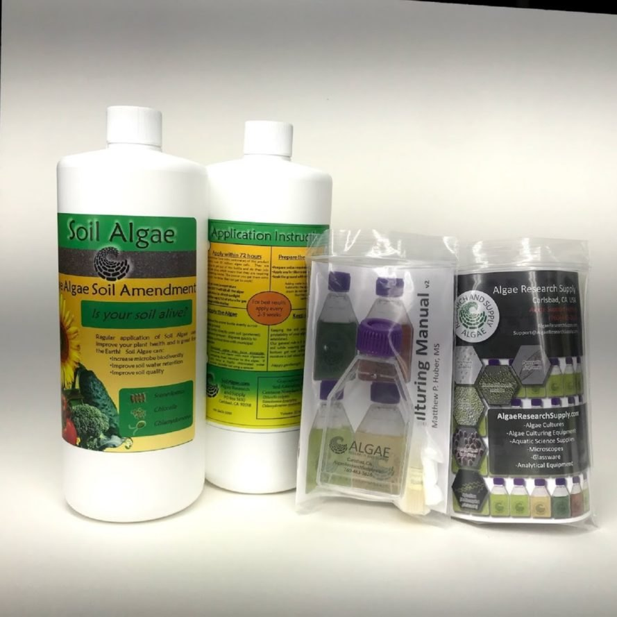 The kits and bottles of Soil Algae products