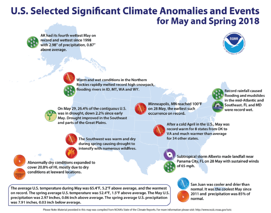 A NOAA map outlining significant weathers events in spring 2018