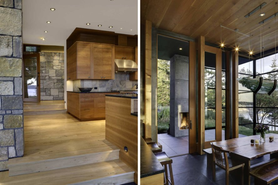 On the left, kitchen with wood cabinetry. On the right, dining space with dining table and large windows.