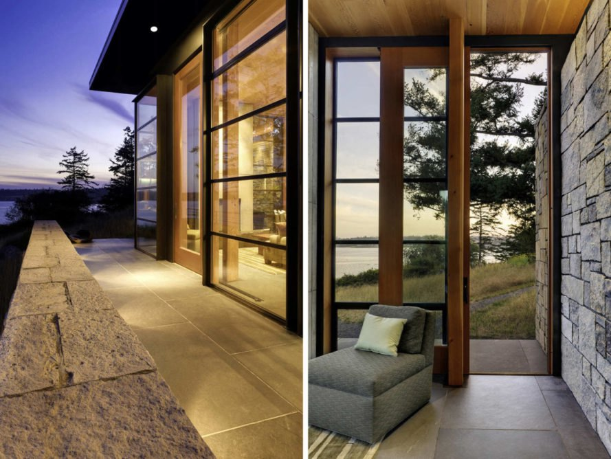 On the left, outdoor terrace. On the right, interior room with chair leading to outdoor terrace.