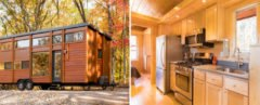wooden tiny home with interior shot of kitchen