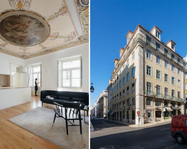 dual image of open plan apartment interior and exterior of lisbon apartment building