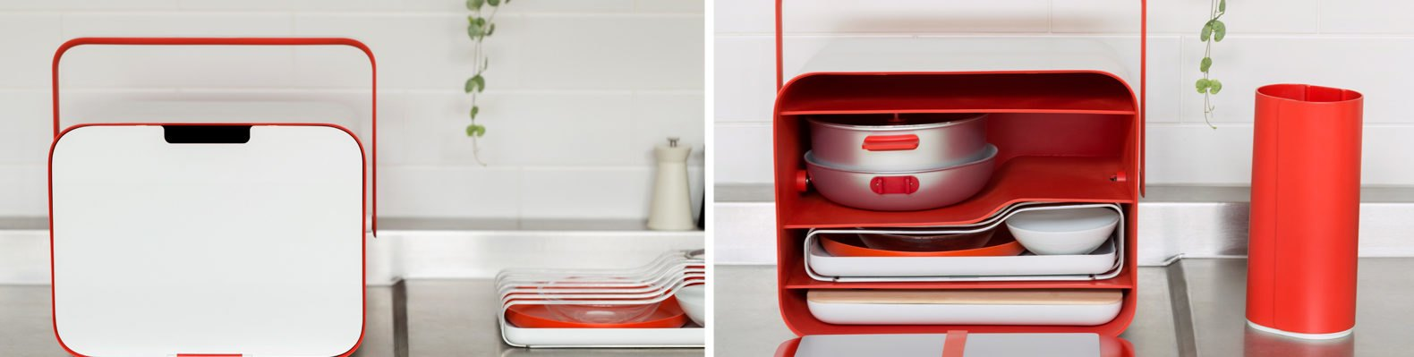 On the left, small white and red box closed. On the right, box opened holding different kitchen utensils.