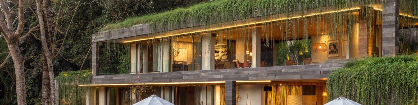 Home with green roof that has vegetation draping over and in front of the second floor balconies