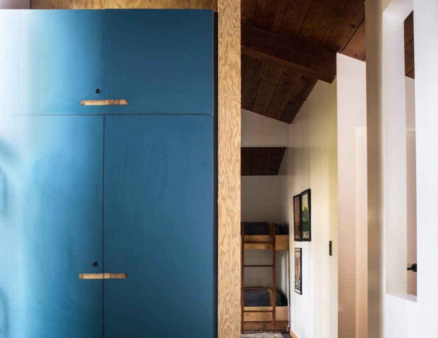 blue laminate cabinetry