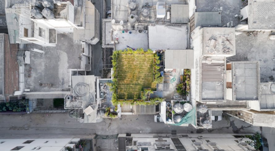 aerial shot of home's garden roof