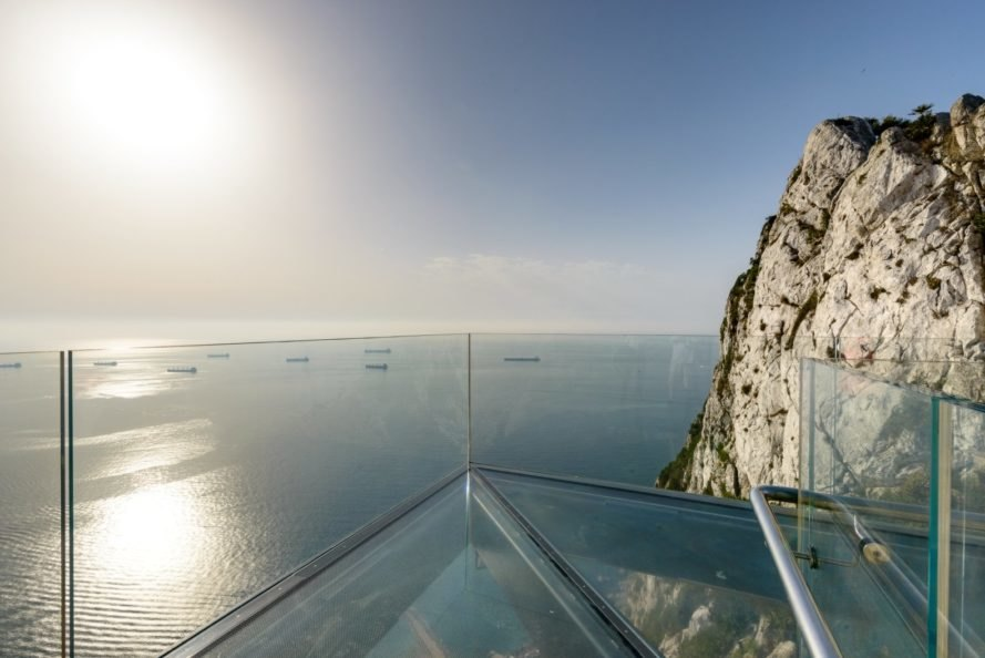 view from glass walkway over the ocean