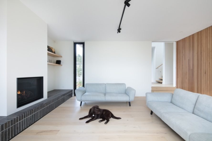 living room with two light gray couches and a sleek white fireplace with a dog lying in front of it