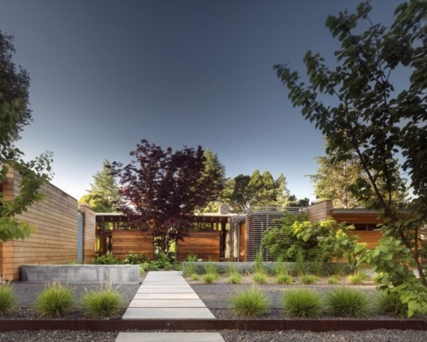 exterior of modern home with trees outside