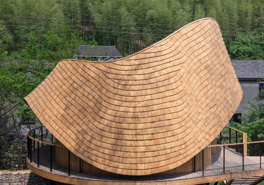 curved wooden roof