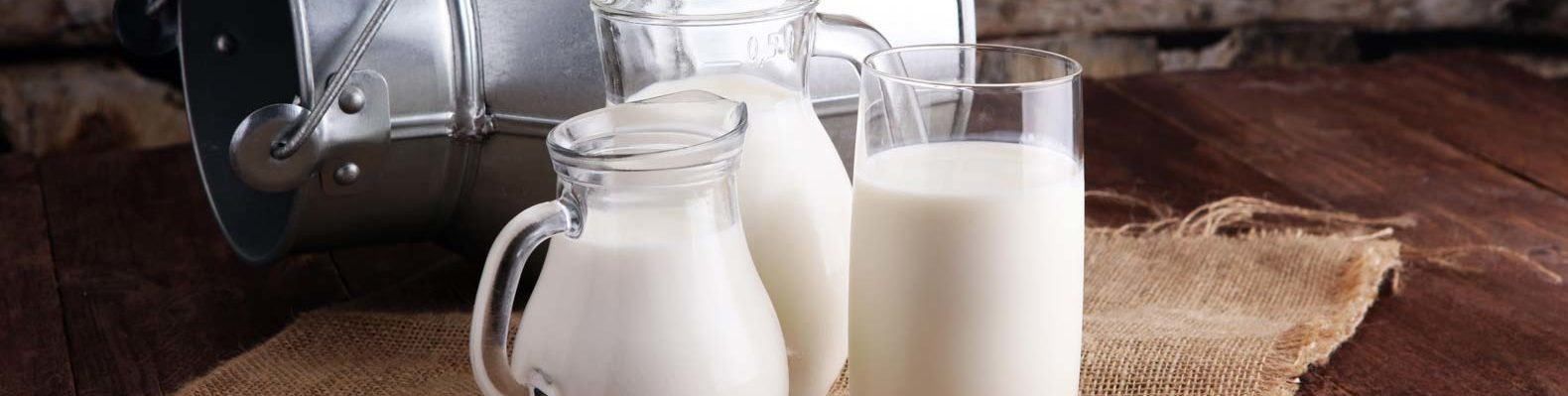 several glass pitchers of milk