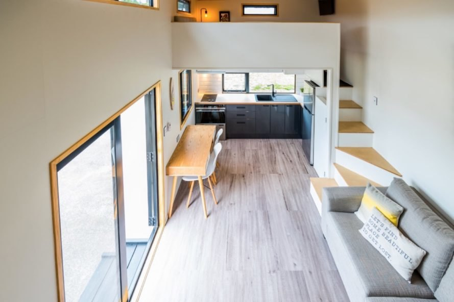view of open-plan living space from second mezzanine