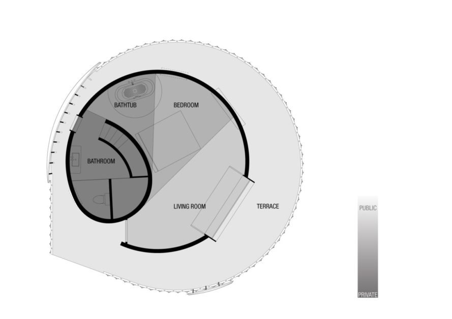 diagram of round structure with curved roof