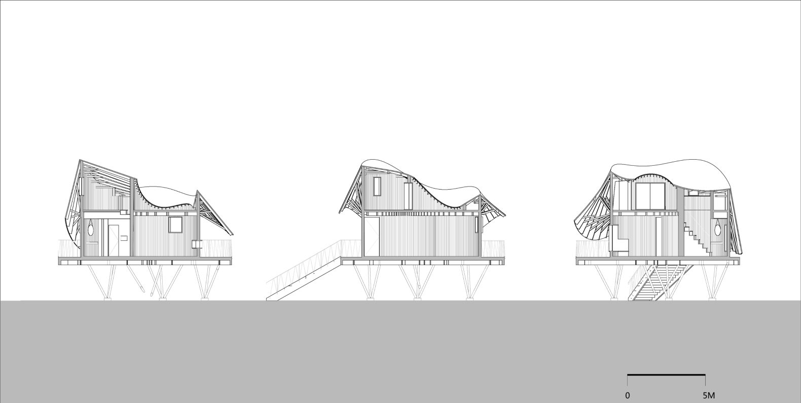 This Round Treehouse U0026 39 S Undulating Roof Mimics The Flow Of