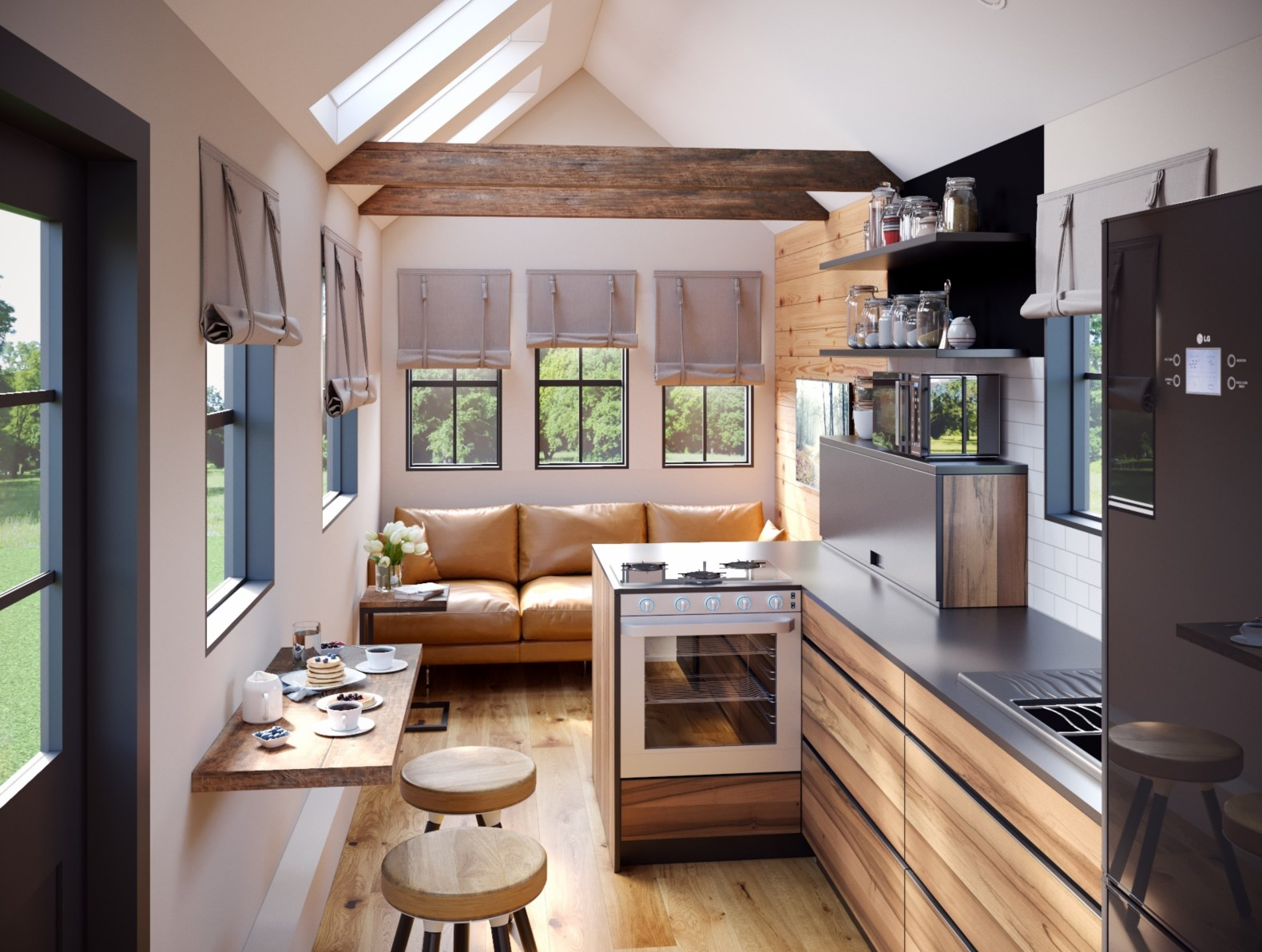 Interior Living E With Kitchen And Room