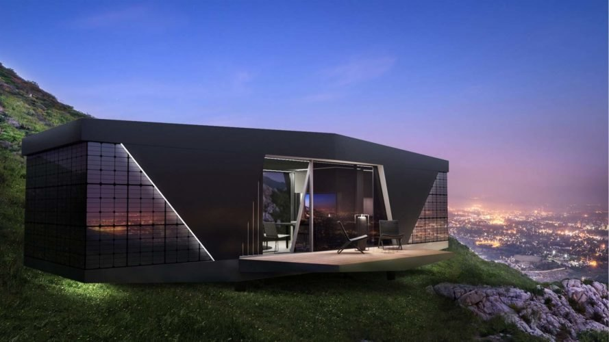 Space pod home set on a cliff overlooking a cityscape