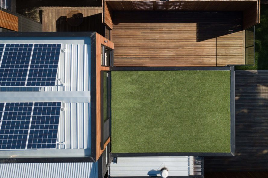 Aerial view of green turf roof