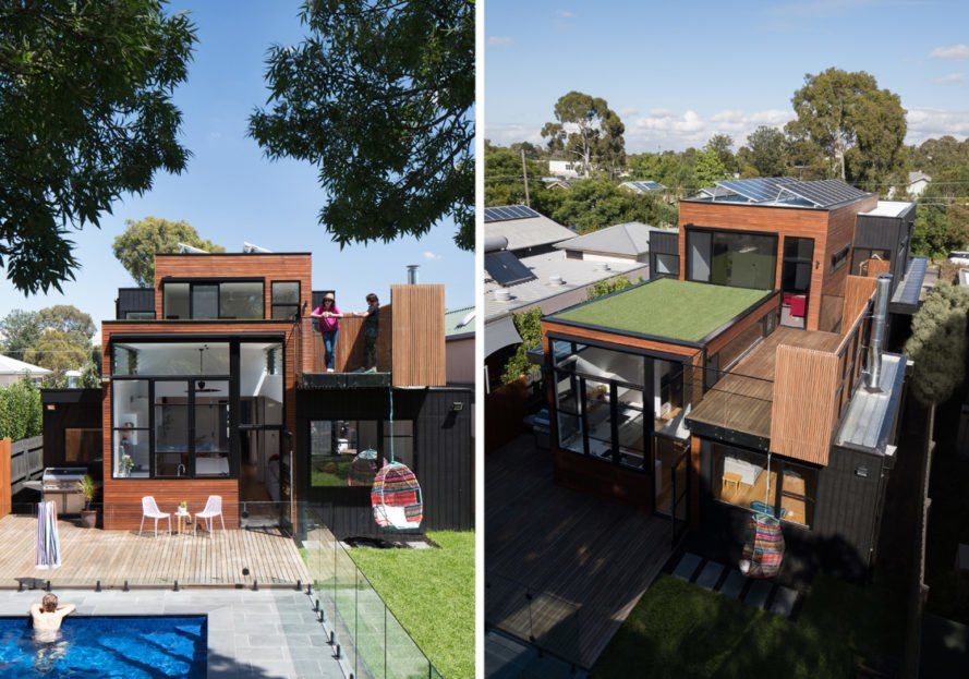 Left image of modern home, right image of home and green turf roof