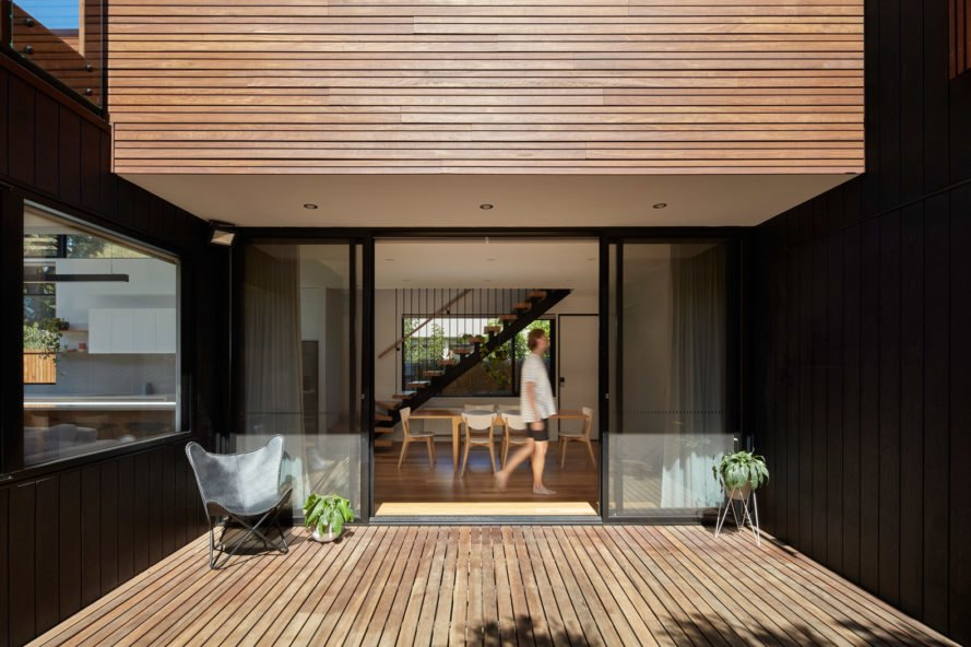 Deck with wooden slats