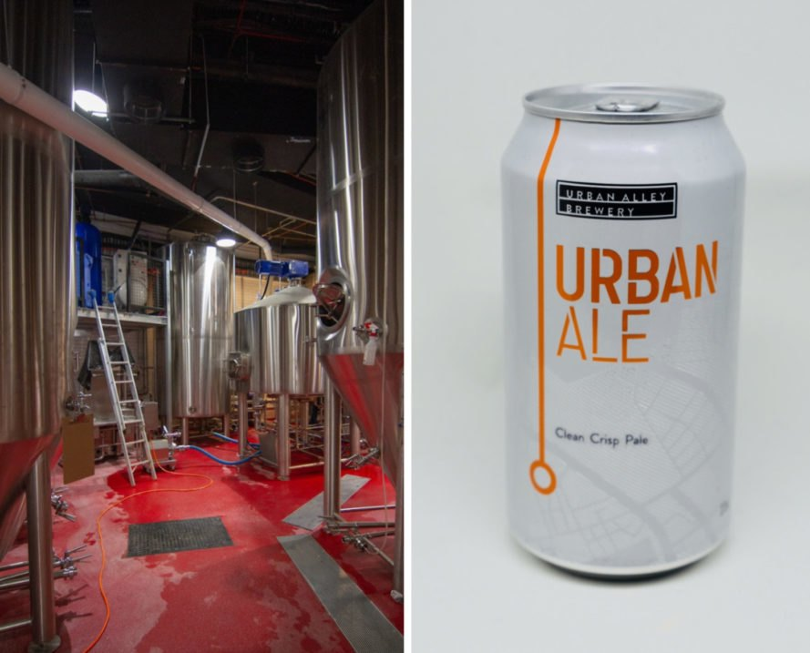 a shot of urban alley brewery and can