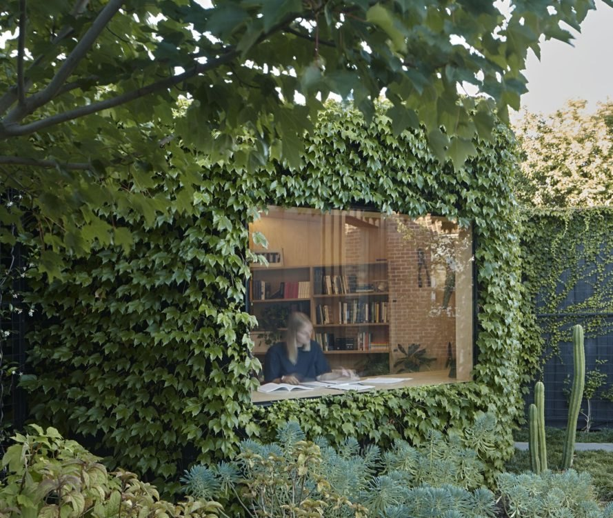 ivy-covered exterior of structure with person reading and writing inside