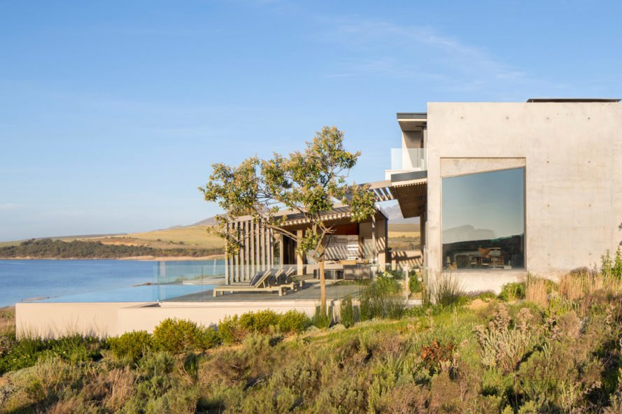 exterior of modern home facing cove
