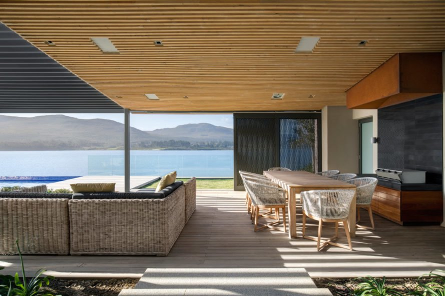 Open living space with view of cove