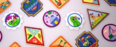 Several colorful patches on white background