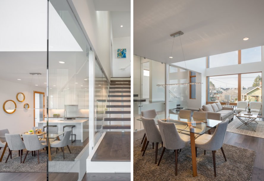 Left image of floating staircase, right image of living space with chairs and large windows
