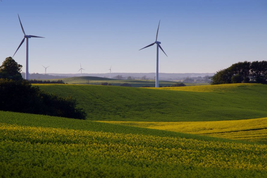 Wind turbines on hilly landscape