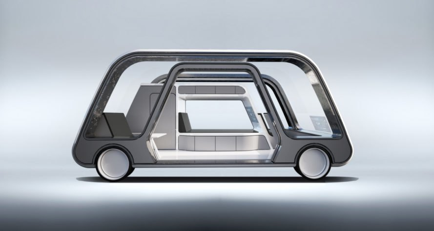 interior view of self driving car