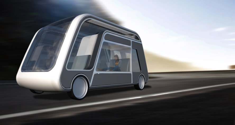 Rendering of autonomous car with person working inside