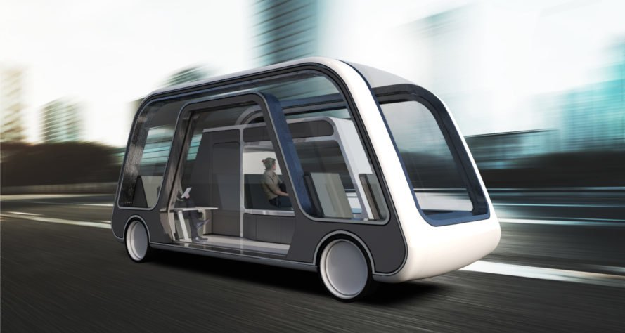 rendering of autonomous car with glass exterior