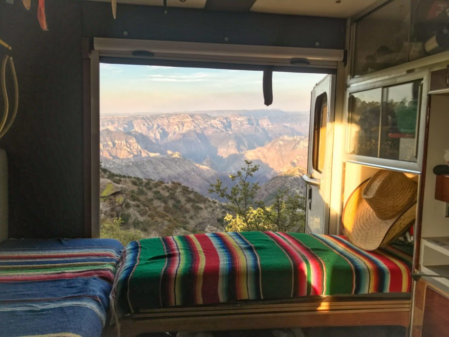a mountain view from inside a van