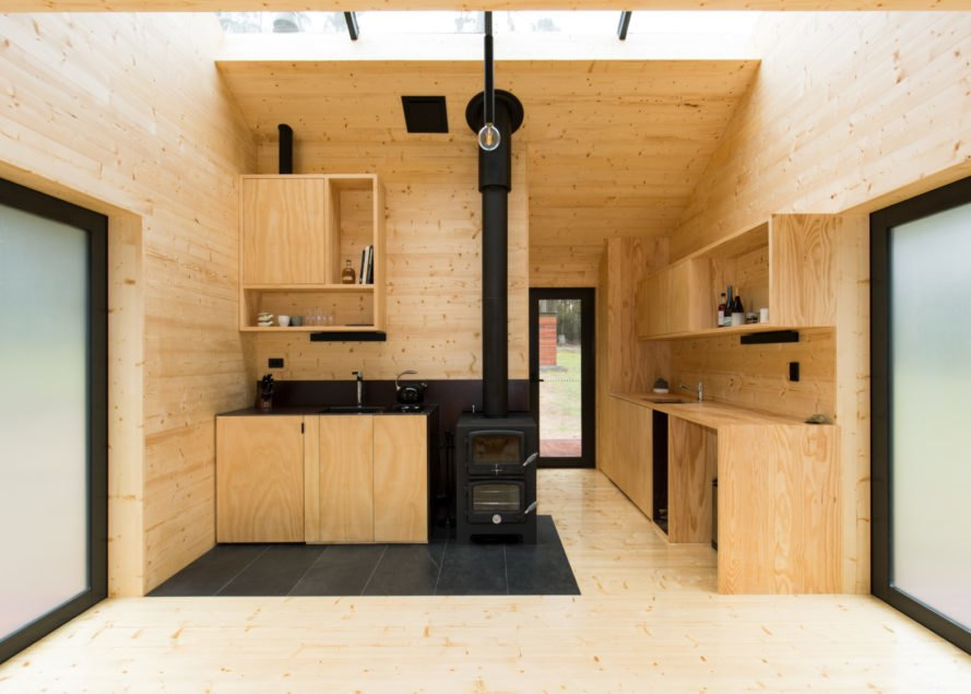 wooden living space and kitchen