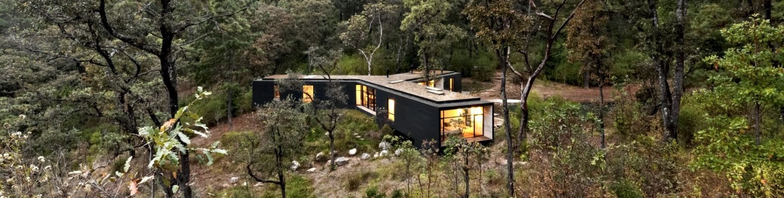 aerial view of dark timber home lit from within
