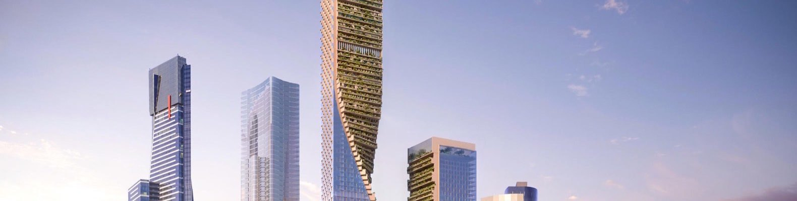 rendering of skyscrapers with green walls